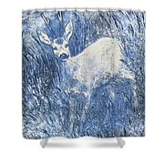 Painting Of Young Deer In Wild Landscape With High Grass. Graphic Effect. Shower Curtain