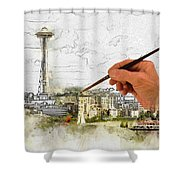 Painting Seattle Shower Curtain