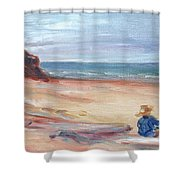 Painting The Coast - Scenic Landscape With Figure Shower Curtain