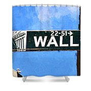 Painting Wall Street Shower Curtain