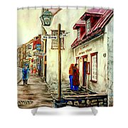 Paintings Of Quebec Landmarks Aux Anciens Canadiens Restaurant Rainy Morning October City Scene  Shower Curtain