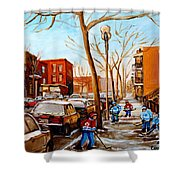 Paintings Of Verdun Streets In Winter Hockey Game Near Row Houses Montreal City Scenes Shower Curtain by Carole Spandau