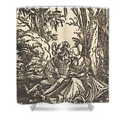 Pair Of Lovers In A Landscape Shower Curtain