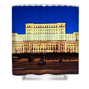 Palace Of Parliament At Night Shower Curtain