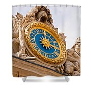 Palace Of Versaille Exterior Clock Shower Curtain