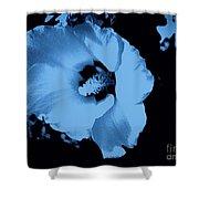 Pale Blue Tinge Hibiscus Flower Shower Curtain