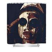 Pale Ghost With Black Eyes Thinking Up Bad Idea Shower Curtain