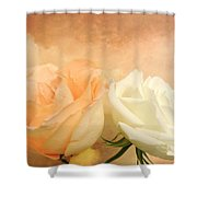 Pale Peach And White Roses Shower Curtain
