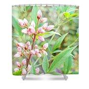 Pale Powder Pink Plant Shower Curtain