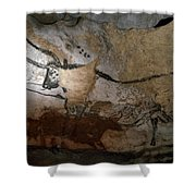 Paleolithic Art Of Bulls On Calcite Shower Curtain