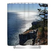 Palisade Head Lake Superior Minnesota Winter Afternoon Shower Curtain