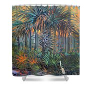 Palm And Egret Shower Curtain