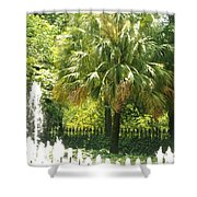 Palm And Fountain Shower Curtain