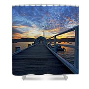 Palm Beach Wharf At Dusk Shower Curtain by Avalon Fine Art Photography