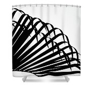 Palm Frond Black And White Shower Curtain