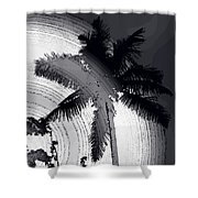 Palm In Grey Shower Curtain