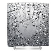 Palm Print On Wet Metal Surface Shower Curtain