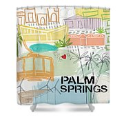 Palm Springs Cityscape- Art By Linda Woods Shower Curtain by Linda Woods