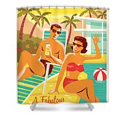 Palm Springs Poster - Retro Travel Shower Curtain