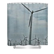 Palm Springs Windmills Shower Curtain