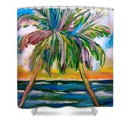 Palm Tree Color Times Two Shower Curtain