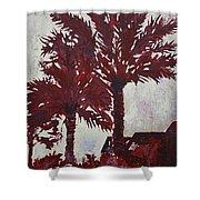 Palm Trees Acrylic Modern Art Painting Shower Curtain