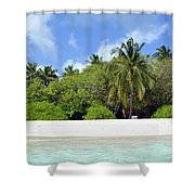 Palm Trees And Exotic Vegetation On The Beach Of An Island In Maldives Shower Curtain