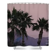 Palm Trees And Mountains At Sunset #1 Shower Curtain