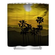 Palm Trees At Sunset With Mountains In California Shower Curtain