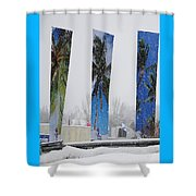 Palm Trees In Snowstorm Shower Curtain