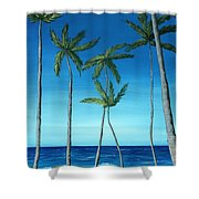 Palm Trees On Blue Shower Curtain