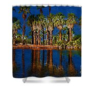Palm Trees On The Water Shower Curtain
