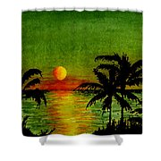 Palm Trees Setting Sun Shower Curtain