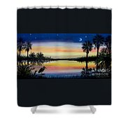 Palmetto Tree And Moon Low Country Sunset Shower Curtain