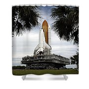 Palmetto Trees Frame Space Shuttle Shower Curtain by Stocktrek Images