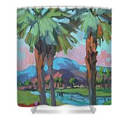 Palms And Coral Mountain Shower Curtain