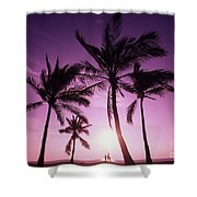 Palms And Pink Sunset Shower Curtain
