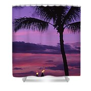 Palms And Tiki Torches Shower Curtain