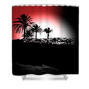 Palms Black White Red Shower Curtain