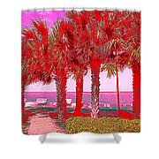 Palms In Red Shower Curtain