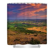 Palouse Skies Ablaze Shower Curtain