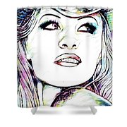 Pamela  Anderson Portrait Shower Curtain