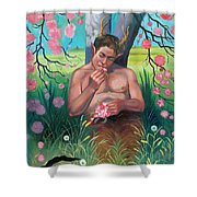 Pan Eating Lunch Shower Curtain