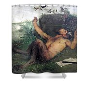 Pan Whistling At A Blackbird 1863 Shower Curtain