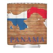 Panama Rustic Map On Wood Shower Curtain