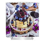 Pancakes With Chocolate Sauce Shower Curtain