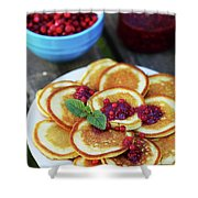 Pancakes With Cranberry Jam Shower Curtain