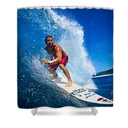 Pancho Makes The Wave Shower Curtain by Vince Cavataio - Printscapes