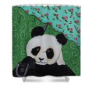 Panda In The Rain Shower Curtain