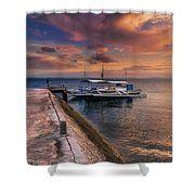Pandanon Island Sunset Shower Curtain